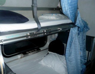 Seat turned into beds on train 35