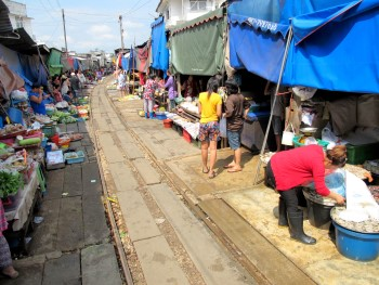 Cleared railway track at Rom Hoop market
