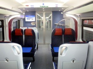 Seats and table on ETS Gold Class Trains