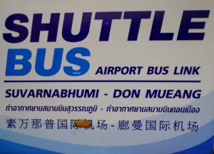 Sign for the free shuttle bus to Suvarnabhumi