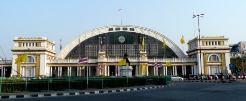 Photo of the front of HUa Lamphong railway station in Bangkok Thailand