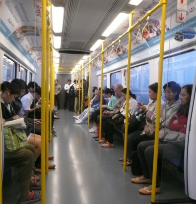 onboard the city line train from Bangkok airport