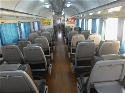 Inside / seating on the train to Hat Yai