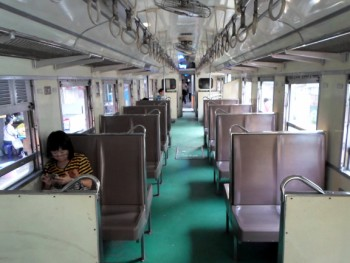 Picture of the inside of the train to Maha Chai