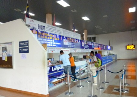 The ticket counter at the Kuala Kedah ferry port for boats to Langkawi