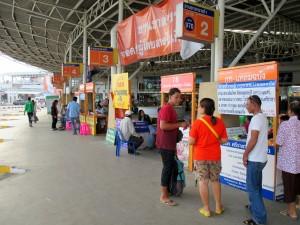 Minibus platform and ticket desks