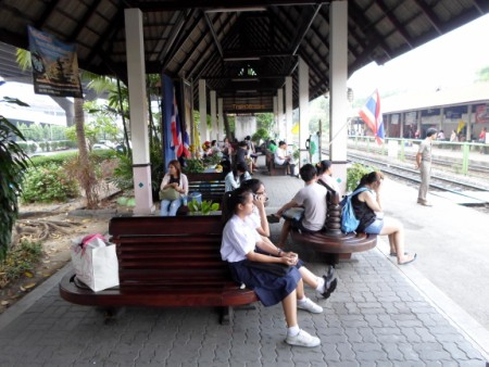 people waiting for a Bangkok bound train on platform 1