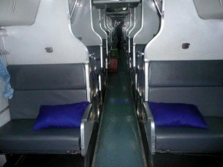Picture of the seats on the international express train to Bangkok