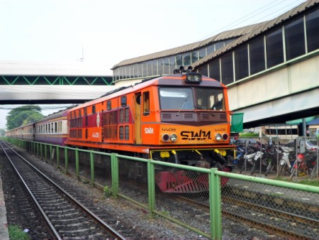 Photo of a train leaving Don Muang station
