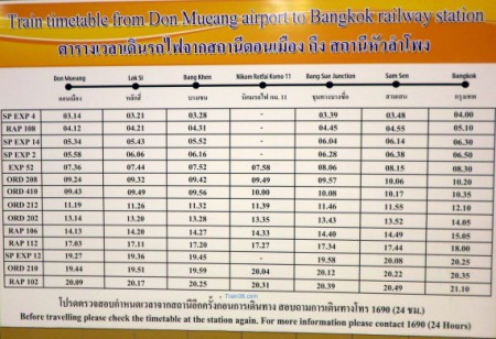 train timetable posted in the airport for trains to Bangkok