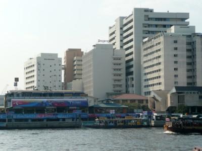 View from the boat of Wang Lang pier Siriraj in Thonburi Bangkok
